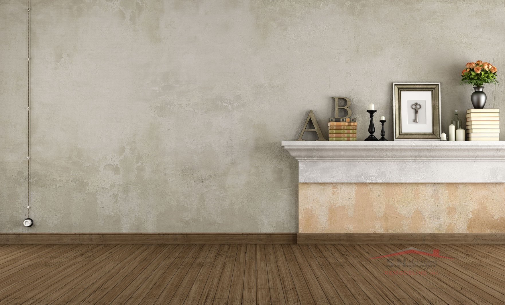 29233040 - empty vintage room with shelf in masonry - rendering