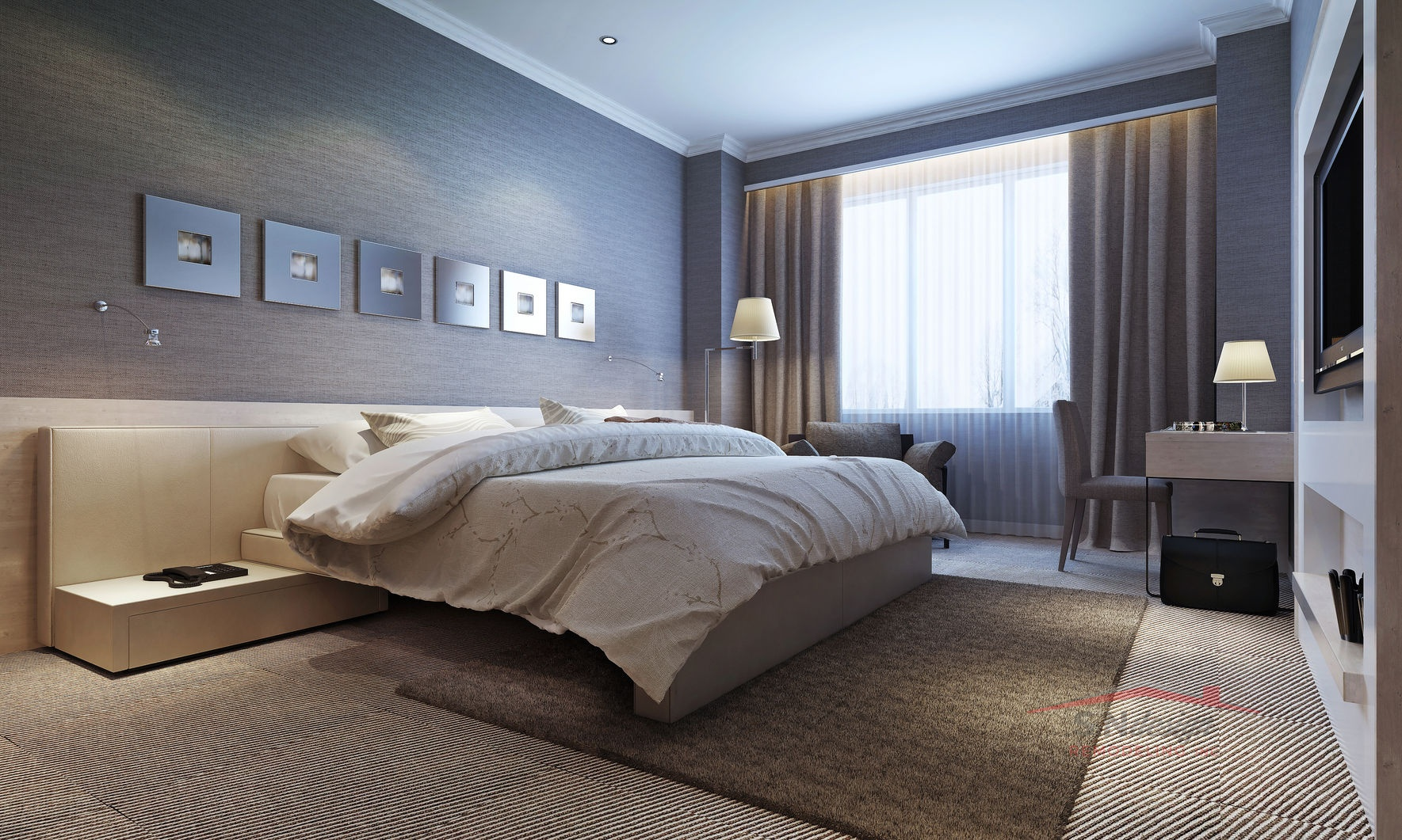 47276315 - bedroom interior, modern style. 3d images