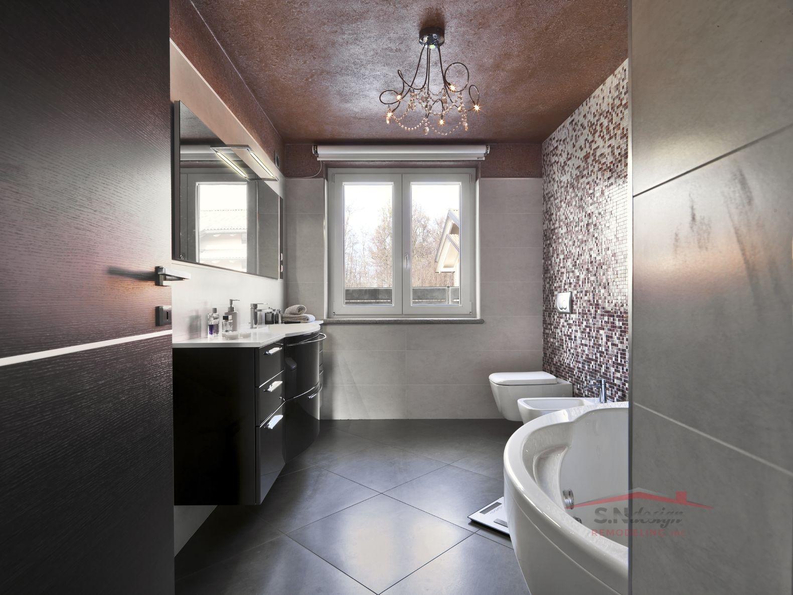 14967214 - modern bathroom with bathtub and washbasin