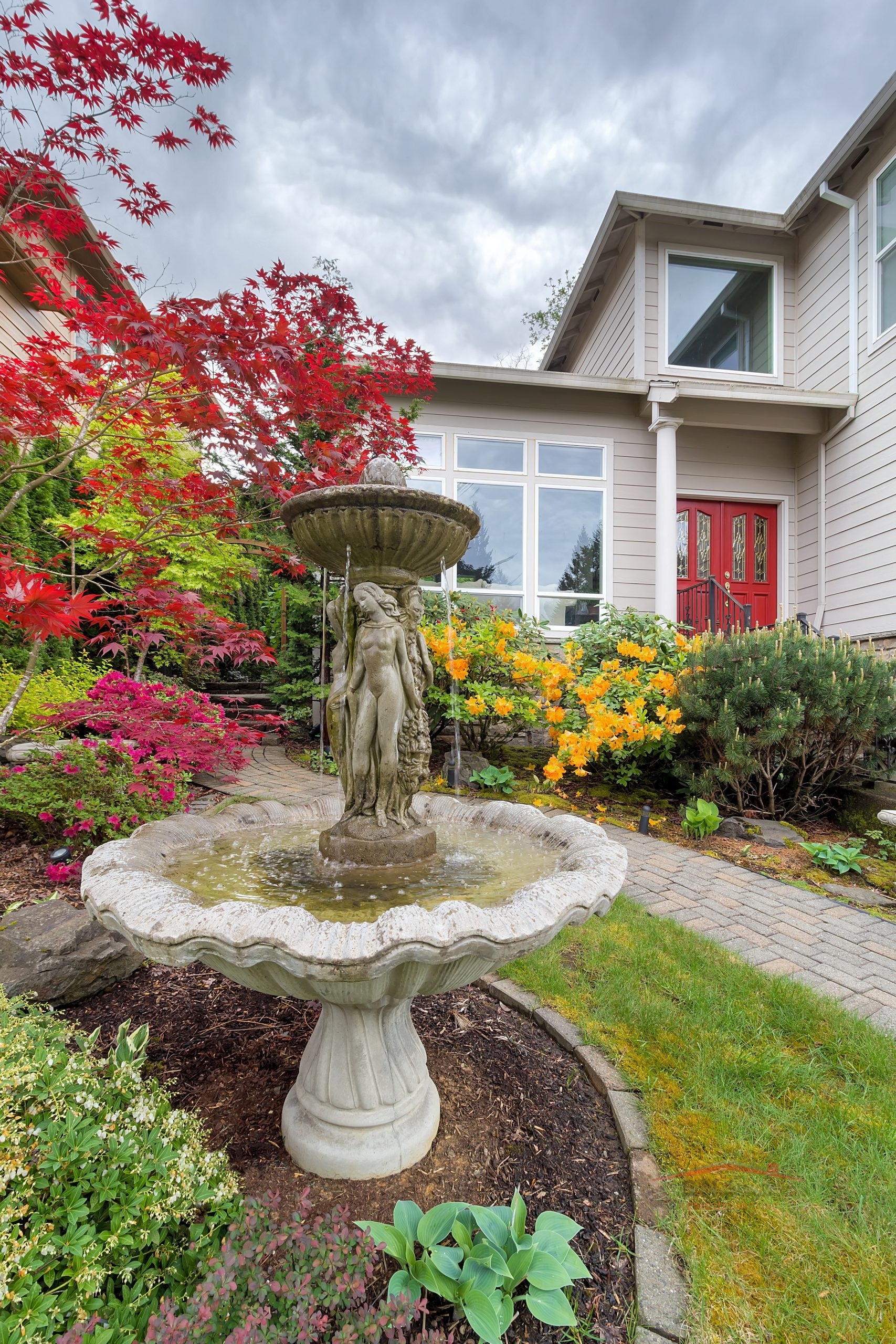 Water Fountain on Frontyard of Home