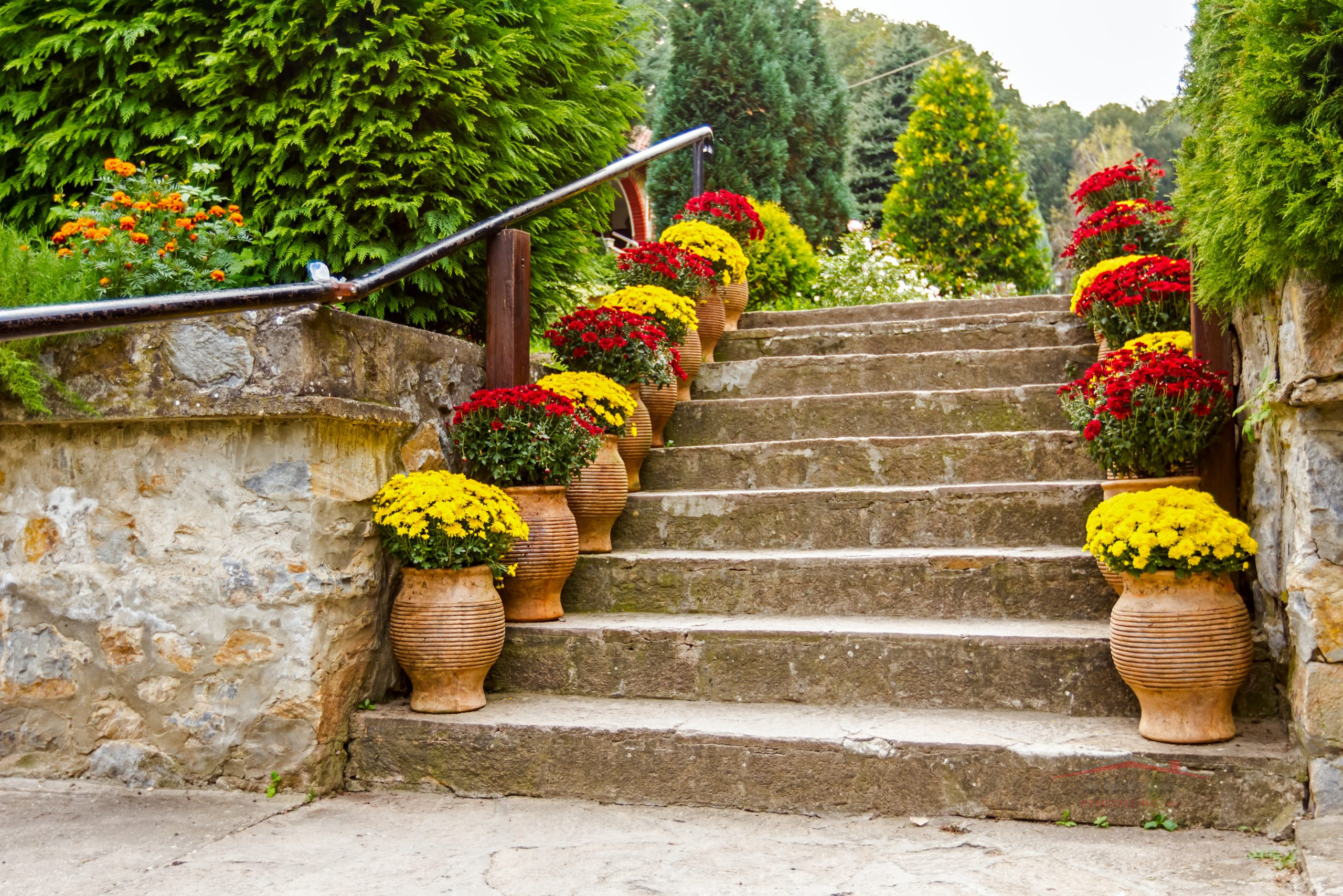 Home garden with decorated stairs